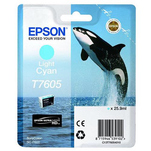 Epson T7605 (25.9ml) Light Cyan Ink Cartridge for SureColor SC-P600 Printer C13T76054010