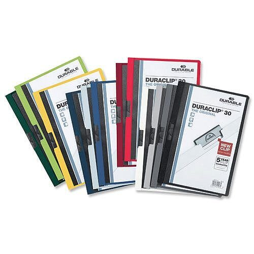 Durable Duraclip 30 Presentation Folder A4 Clear Front 30 Sheets Dark Blue Pack 25