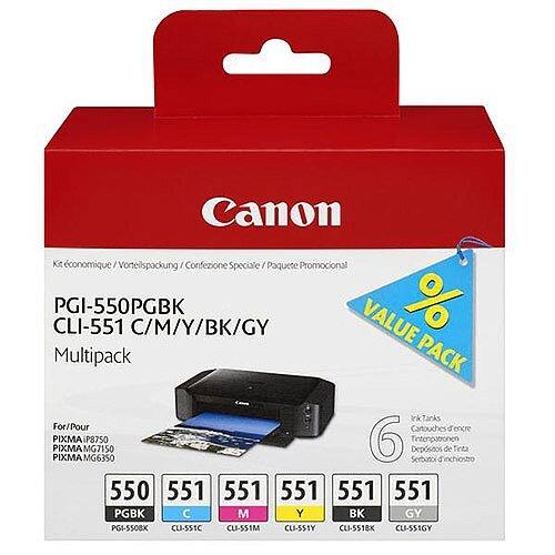Canon PGI-550 Ink Cartridge (Pigment Black, Dye Based Cyan, Yellow, Magenta, Black, Grey) 6496B005