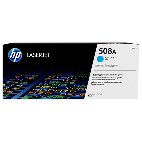HP 508A (Yield 5,000 Pages) Cyan Original LaserJet Toner Cartridge for Color LaserJet Enterprise M552dn/M553dn/M553n/M553x Printers CF361A
