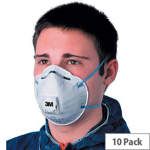 3M Respirator Mask Valved FFP2 Classification White with Blue Straps 8822 Pack 10