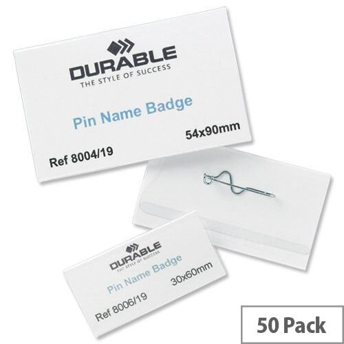 Durable Pin Name Badges 54x90mm Pack 50