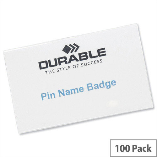 Durable Pin Name Badges 40x75mm Pack 100