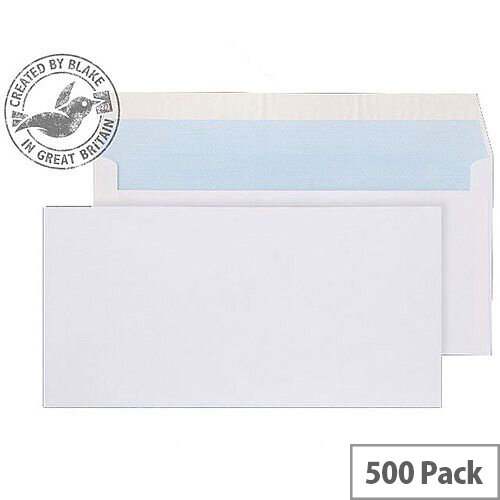 Purely Everyday DL White Peel and Seal Wallet Enevelopes 100gsm Pack of 500
