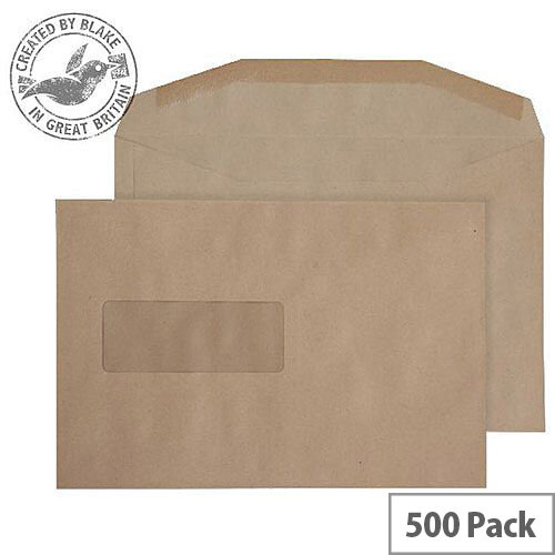 Purely Everyday Manilla Gummed 80gsm Mailing Wallet Window C5+ 162x238 (Pack of 500)