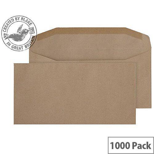 Purely Everyday Manilla DL Envelopes Mailer Wallet Gummed 80gsm Pack of 1000