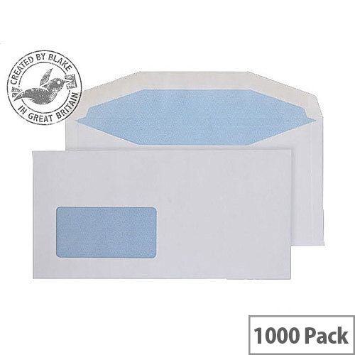 Purely Everyday White DL+ Envelopes Mailer Wallet Low Window Gummed 80gsm Pack of 1000