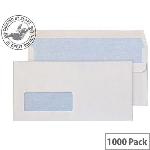 Purely Everyday DL White Self Seal Wallet Window Envelopes 90gsm Pack of 1000