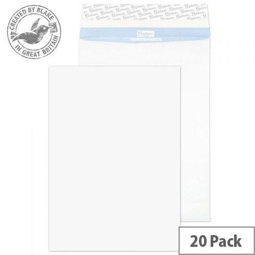 Blake Premium Secure Pocket Peel and Seal White Envelopes 352X250X25mm 125gsm Pack of 20
