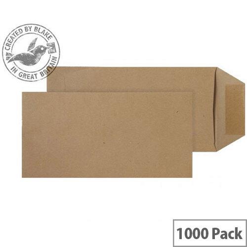 Purely Everyday Pocket Envelopes Gummed Manilla 80gsm 229x102mm Pack of 1000