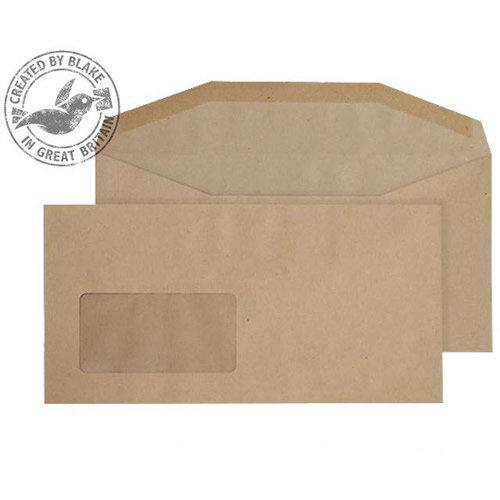 Purely Everyday Manilla Envelopes DL+ Mailer Wallet Window Gummed 80gsm Pack of 1000