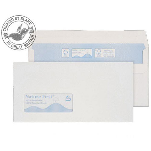 Purely Environmental White DL Wallet Self Seal Low Window Envelopes 90gsm Pack of 1000