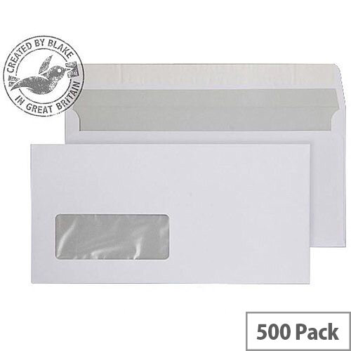 Purely Everyday Bright White DL Wallet Peel and Seal Window Envelopes 120gsm Pack of 500