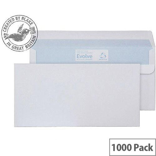 Purely Environmental White DL Wallet Self Seal Envelopes 90gsm Pack of 1000