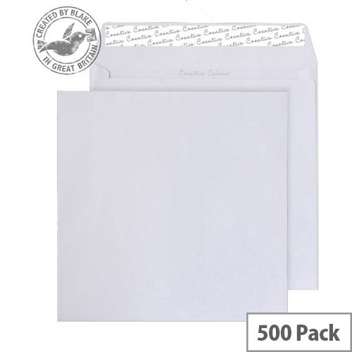 Blake Creative Colour Ice White Wallet Envelopes 155x155mm 120gsm Peel and Seal Pack of 500