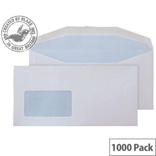Purely Everyday White DL+ Envelopes Mailer Wallet Window Gummed 115gsm Pack of 1000