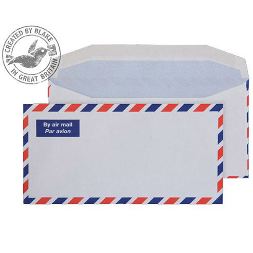 Purely Everyday Airmail White DL Envelopes Mailer Wallet Gummed 80gsm Pack of 1000