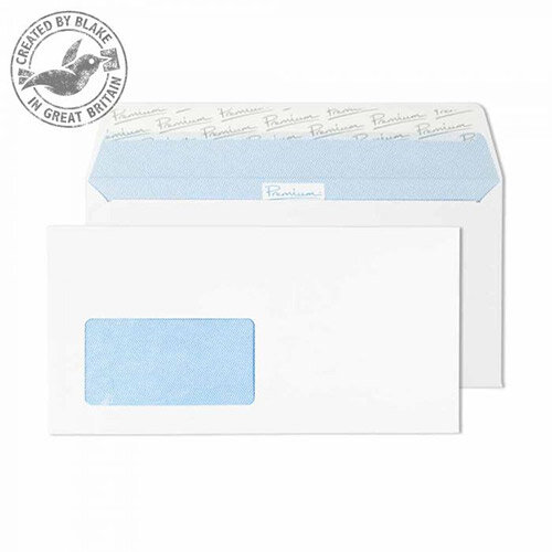 Premium Office DL Ultra White Wove Wallet German Window Envelopes 120gsm Pack of 500