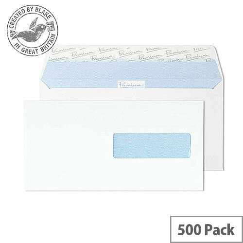 Premium Office DL Ultra White Wove Wallet Swedish Window Envelopes 120gsm Pack of 500