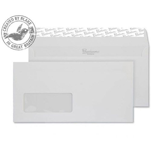 Blake White Premium Business Wallet Window Diamond Smooth DL 120gsm Pack of 500
