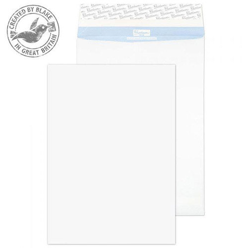 Blake Premium Secure White B4 Gusset Evelopes Peel and Seal 352x250x25mm 125gsm Pack of 100