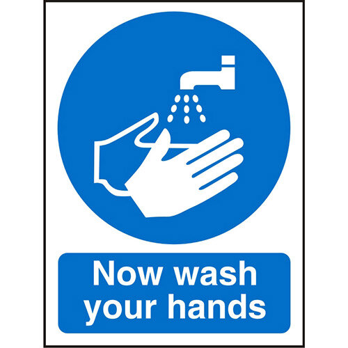 Prestige Acrylic Sign 2mm 150x200 Now Wash Your Hands Ref ACM001150x200