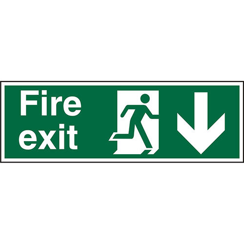 Prestige Sign 2mm 300x100 Fire Exit  Man Running Right &Arrow Pointing Down