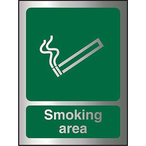 Brushed Aluminium Effect Acrylic Sign 2mm 150x200 Smoking Area