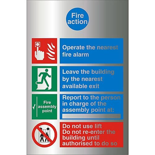 Brushed Aluminium Comp Sign 210x300 1.5mm Fire Action Self Adhesive