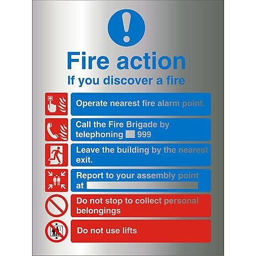 Brushed Aluminium Sign 210x300 1.5mm Fire Action If You Discover A Fire Self Adhesive