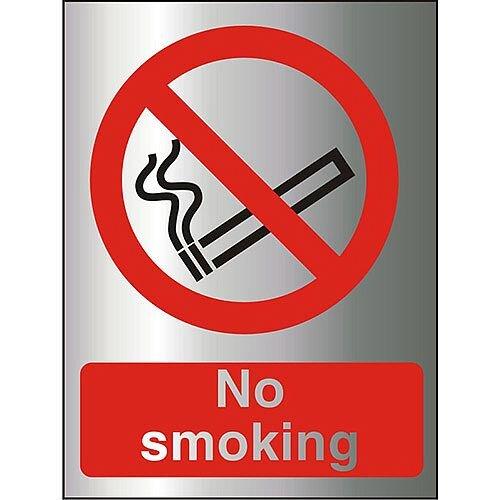 Brushed Aluminium Comp Sign 150x200 1.5mm Aluminium S/A Backing No Smoking