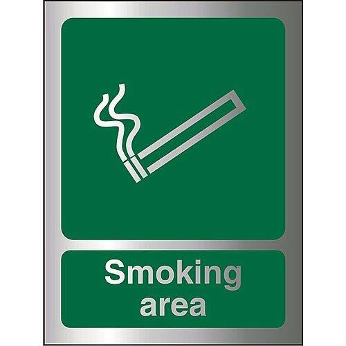 Brushed Aluminium Comp Sign 150x200 1.5mm Aluminium S/A Smoking Area