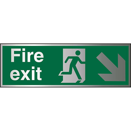 Brushed Aluminium Sign 1.5mm S/A Fire Exit Man Running Arrow Pointing Down Right