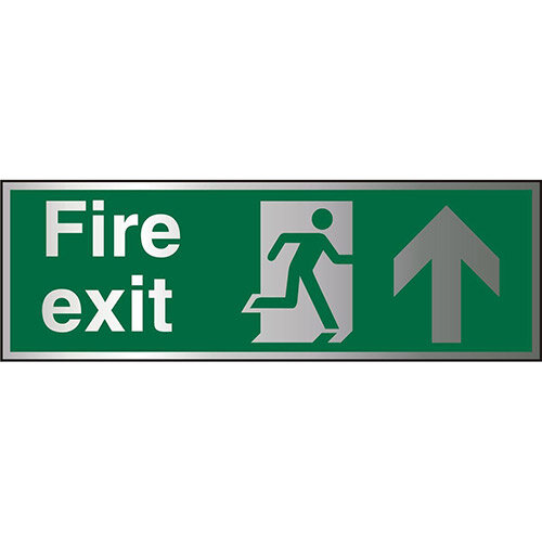 Brushed Aluminium Sign 1.5mm S/A Fire Exit Man Running Right &Arrow Pointing Up