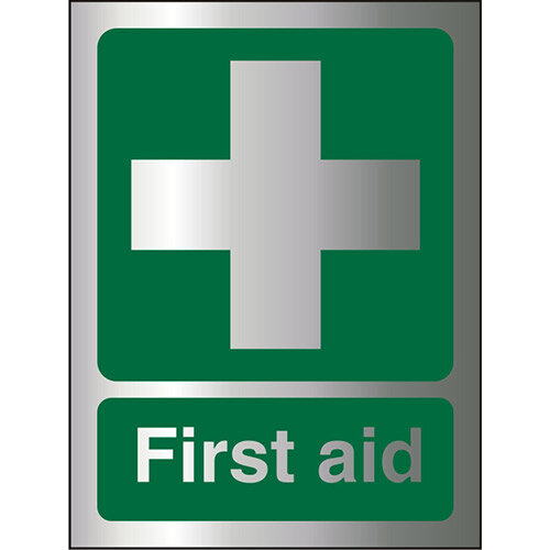 Brushed Aluminium Comp Sign 150x200 1.5mm First Aid Self Adhesive