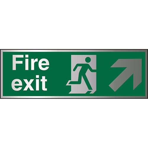 Brushed Aluminium Sign 1.5mm S/A Exit Man Running Right &Arrow Pointing Up