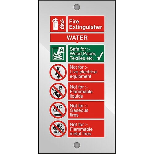 Clear Acrylic Sign 100x200 5mm Fire Extinguisher Water