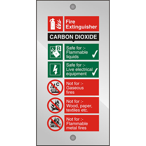 Clear Acrylic Sign 100x200 5mm Fire Extinguisher Carbon Dioxide