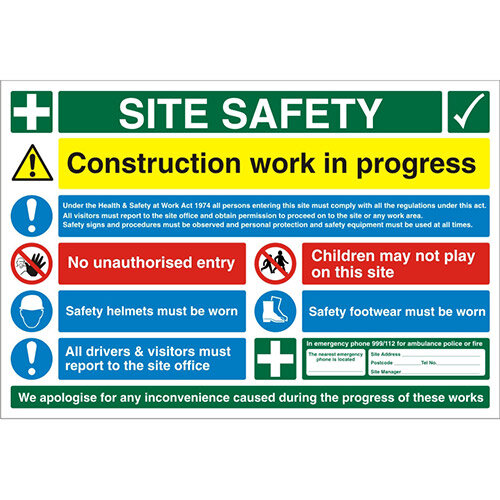 Construction Safety Board Site Safety Sign 900x600 4mm Fluted Board Safety