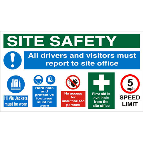 Construction Safety Board 800x450 Site Safety Sign 4mm Fluted Board Safety