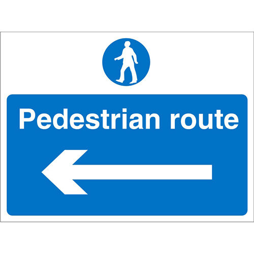 Construction Board 600x400 Safety Sign 3mm Pedestrian Route Left Arrow