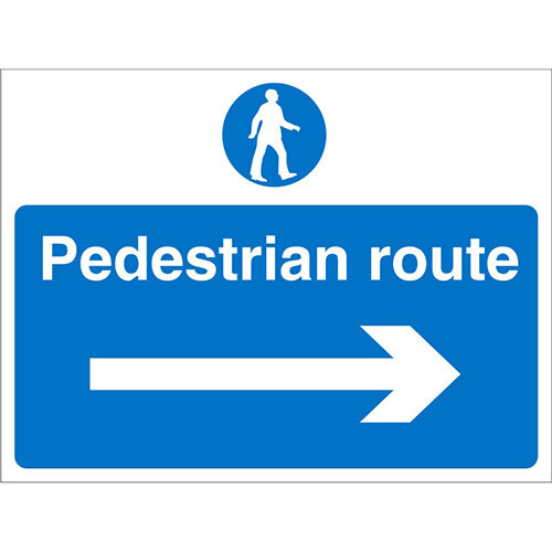 Construction Board 600x450 Safety Sign 4mm Pedestrian Route Right Arrow