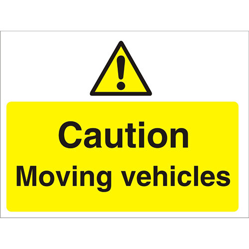 Construction Boar Safety Sign 3mm Foam PVC Caution Moving Vehicles