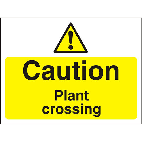 Construction Boar Safety Sign 3mm Foam PVC Caution Plant Crossing