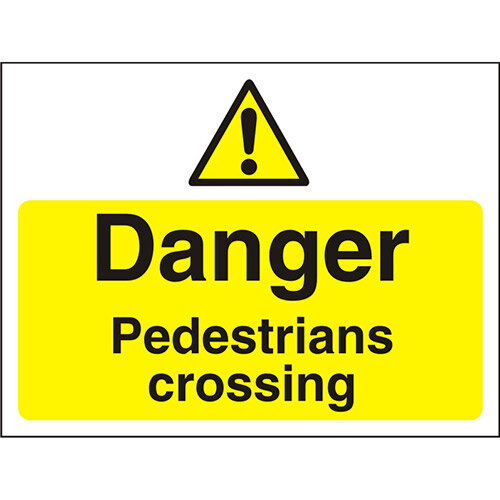 Construction Board 600x450 Safety Sign 3mm Danger Pedestrians Crossing