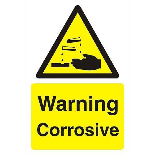 Construction Board 400x600 Safety Sign 3mm Foam PVC Warning Corrosive