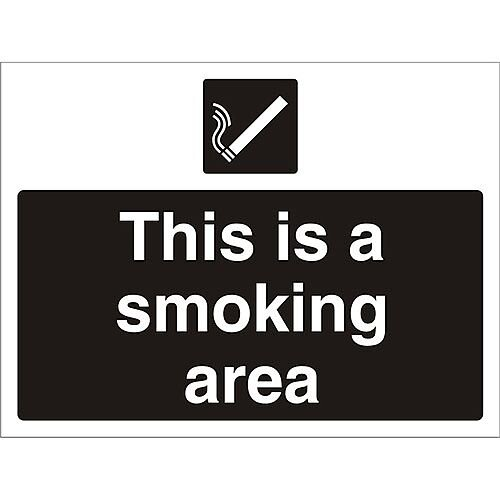 Construction Board Safety Sign 3mm Foam PVC This Is A Smoking Area