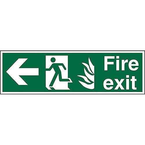 NHS Sign 600x200 1mm Fire Exit Man Running &Arrow Pointing Left
