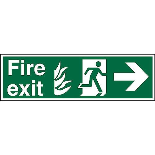 NHS Sign 600x200 1mm Fire Exit Man Running &Arrow Pointing Right