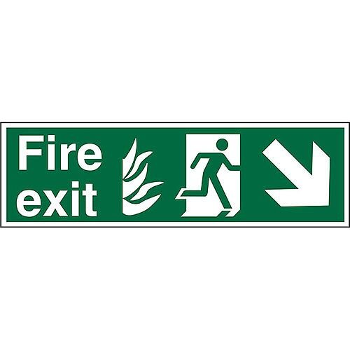 NHS Sign 600x200 1mm Fire Exit Man Running Arrow Pointing Down Right